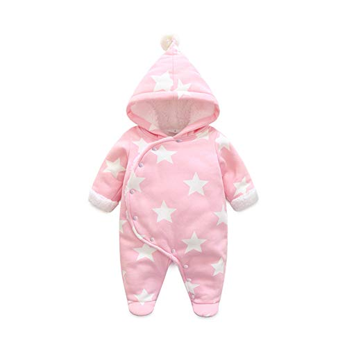 Star Fleece Hoodie - Fairy Baby Newborn Boys Girls Romper Outwear Winter Thick Warm Hood Jumpsuit Size 3-6M (Pink)