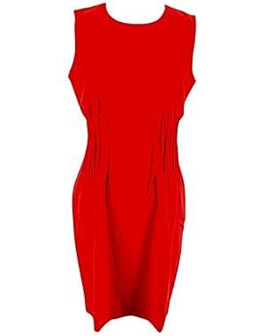 Calvin Klein Womens Sleeveless Sheath Dress Size 14 Regular Red Polyester