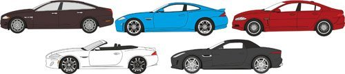 Oxford Diecast 1/76 Scale - 76SET18 - 5 Piece Jaguar Set XJ XKRS XF XK F Type (Set Jaguar Type Xj)