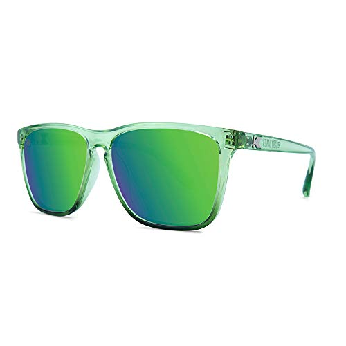 Knockaround Fast Lanes Polarized Sunglasses With Translucent Green Frames/Green Reflective ()