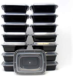 Blacware 150 Set   6x4   Meal Prep   12 oz   1 Single Compartment Black Food Storage Containers Durable BPA Free Plastic Reusable Microwave & Dishwasher Safe with Clear Lid (300 Unit Pieces Case) BULK