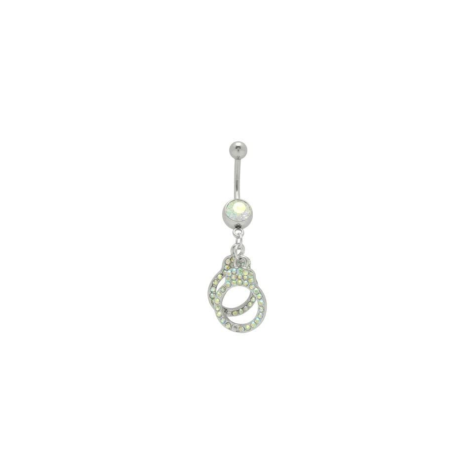 Dangle Hand Cuffs Belly Ring with Opal Cz Gems