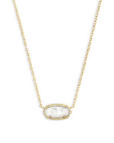 Kendra Scott Elisa Pendant Necklace in White Mother-of-Pearl, Rhodium Plated