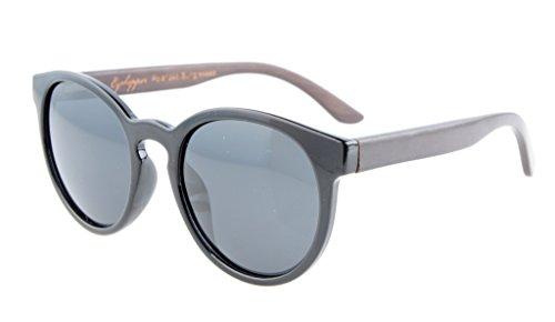 Eyekepper Qualität Federscharniere Oval Rund polarisierte Sonnenbrille Schwarz / Grau Linse