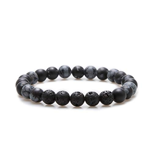 Bivei Essential Oil Bracelets, Lava Rock Stone Beads Diffuser Bracelet Gemstone Aromatherapy Bracelet(Snow Flake Obsidian)