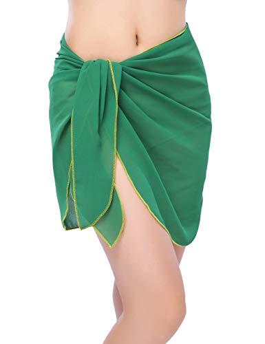 - Women Beach Chiffon Sheer Short Sarong Wrap Bikini Cover Up Printed/Solid Color Mini Slit Skirt Swimwear Bathing Suit Dark Green