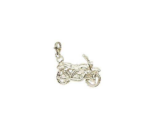 14k Motorcycle Charm (14K Yellow Gold Motorcycle Charm With Lobster Claw Clasp, Charms for Bracelets and Necklaces)