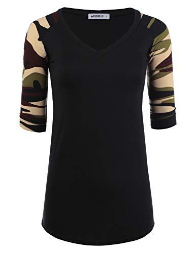 (Doublju Women's Top Raglan Solid & Floral Printed 3/4 Sleeve T-Shirt, BLACKCAMO 1X Plus Size)
