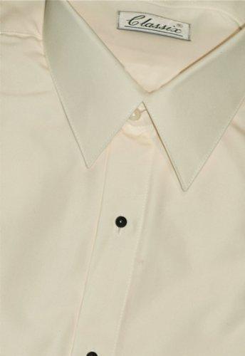 Tuxedo Shirt - Ivory Non Pleated Microfiber Ultra Laydown Collar