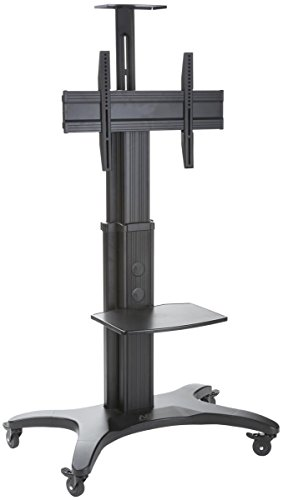 Displays2go EM4060BK Heavy Duty TV Stand with Wheels for 40-60'' HDTV Monitor with Shelf by Displays2go