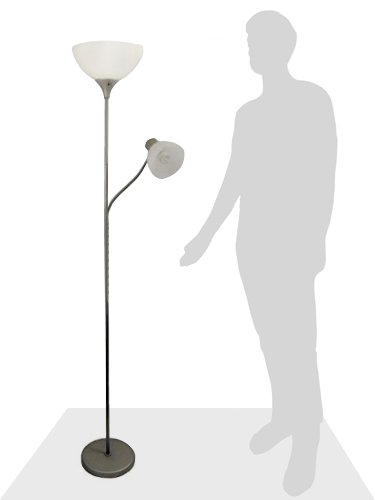 Simple Designs Home LF2000-SLV Floor Lamp with Reading Light, Silver by Simple Designs Home (Image #7)