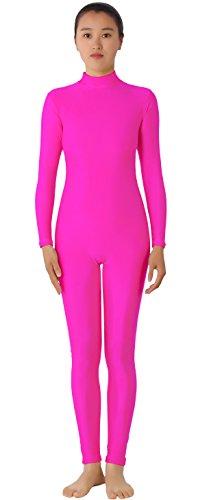 [JustinCostume Women's Lycra Spandex Unitard Bodysuit Dancewear M Pink] (Pink Spandex Bodysuit)