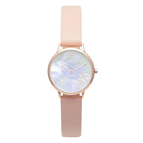 Byron Bond Mark 5 - Luxury 32mm Wrist Watches for Women (Mayfair - Rose Gold Case with White Mother of Pearl Dial and Pink Leather ()