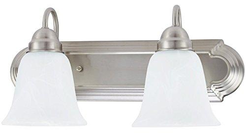 Sunnyfair 2 Light Vanity Fixture, Brushed Nickel Finish with Alabaster Glass for Bathroom, UL liste