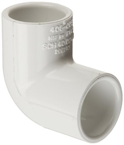 Spears 406 Series PVC Pipe Fitting, 90 Degree Elbow, Schedule 40, White, 2