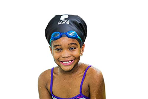 Happy Mane Silicone Swim Cap for Braids and Dreadlocks – Keeps Your Hair Dry While Swimming and Bathing Long Hair, Extensions, and Curly Hair – Large & XL Shower Cap for Women, Men, Kids (Black, S)