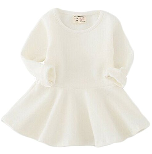 Baby White Dress (EGELEXY Baby Girls' Long Sleeve Cotton Ruffle Top Dress 12-18Months White)