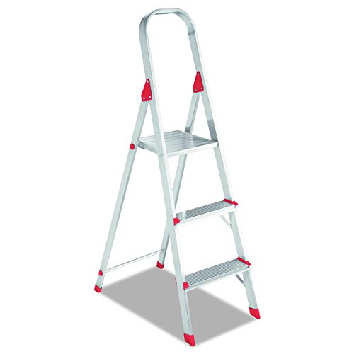 Louisville L234603 #566 Folding Aluminum Euro Platform Ladder, 3-Step, Red