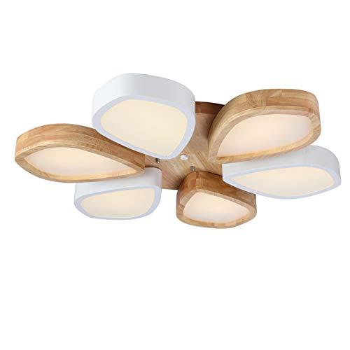 TopDeng Flower Shape Ceiling Light Fixture, Modern Wood Ceiling lamp Flush Mount Kitchen Living Room Dining Room Study-White Light-D 80x8cm