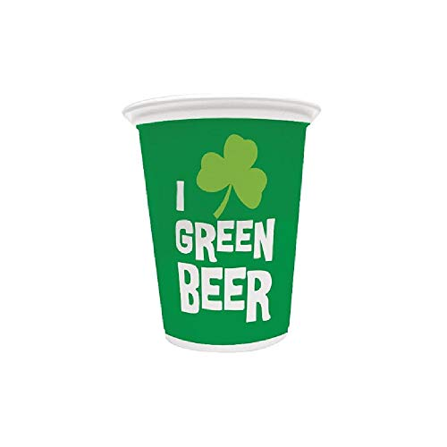Bargain World Green Beer Plastic Cup (8/pkg) (with Sticky Notes)
