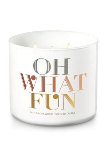 Bath & Body Works Candle 3 Wick 14.5 Ounce Oh What Fun Scent Winter Candy Apple