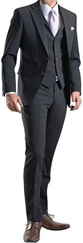 【MARUTOMI】スーツ メンズ スリーピース ビジネス 2ツボタン スリムフィット 春夏 ソロテックス素材 洗えるパンツウォッシャブル メンズスーツ ビジネススーツ ウール混 紳士 suit ジレ ベスト付き SC87
