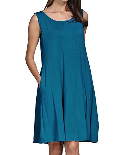 - lymanchi Women Sleeveless Pockets Swing Simple Loose Casual T-Shirt Dresses Blue 2X