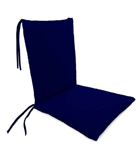 Classic Polyester Outdoor Rocking Chair Cushion with Ties, Seat Cushion 21''W Front/17''W Back x 19''D; Back Cushion 16''W x 20''L - Midnight Navy