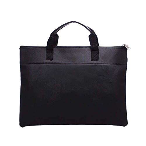 HEHGU Document Bag Business Briefcase Bag PU Leather File Holder Business Handbag for Papers, Notebooks, Files,Black