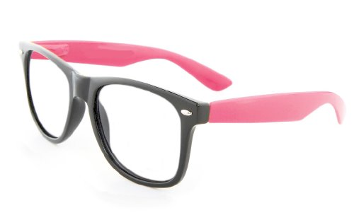 Retro Horned Rim Retro Classic Nerd Glasses Clear Lens (Black/Pink, Clear) (And Black Pink Glasses)