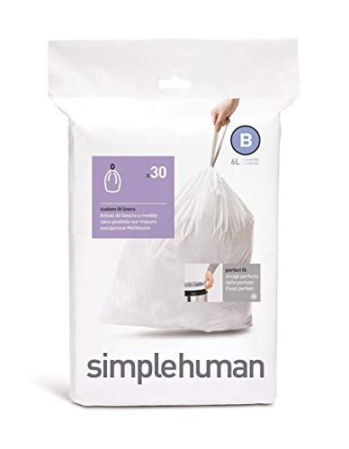 simplehuman Code B Custom Fit Drawstring Trash Bags, 6 Liters / 1.6 Gallon (30 Count) (Funky Narrow Ties)