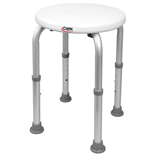 Carex Compact Shower Stool - Adjustable Height Bath Stool and Shower Seat - Aluminum Bath Seat That Supports 250lbs (Carex Stool Round Shower)