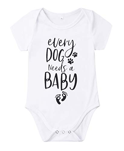 Newborn Baby GOT My Mind ON My Mommy Funny Bodysuits Rompers Outfits Blue (Z-K Every Dog Needs A Baby, 3-6M)
