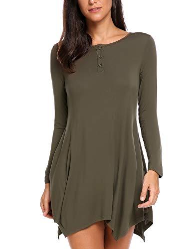 Venena Womens Casual Round Neck Asymmetrical Hem Tunic Top Shirt Army Green X-Large