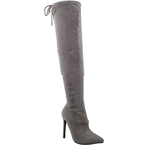 TRENDSup Collection Women Pointy Toe Thigh High Single Sole Stiletto Boot (6.5 B(M) US, Grey Suede)