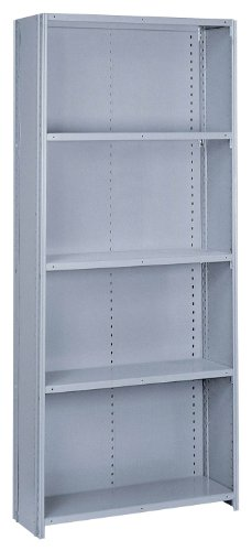 Lyon PP8762M Commercial Stand Alone Closed Offset Angle Shelving with 10 Medium Duty Shelves, 36