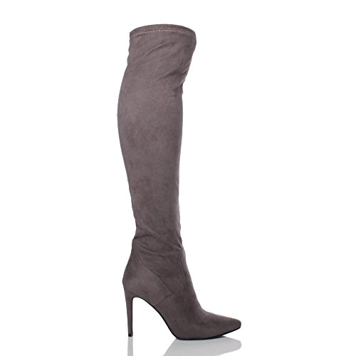 Stretch Toe Over Riding Size Ajvani Womens Grey high Ladies Boots Knee Elastic Pointed Suede Heel The zBqaw