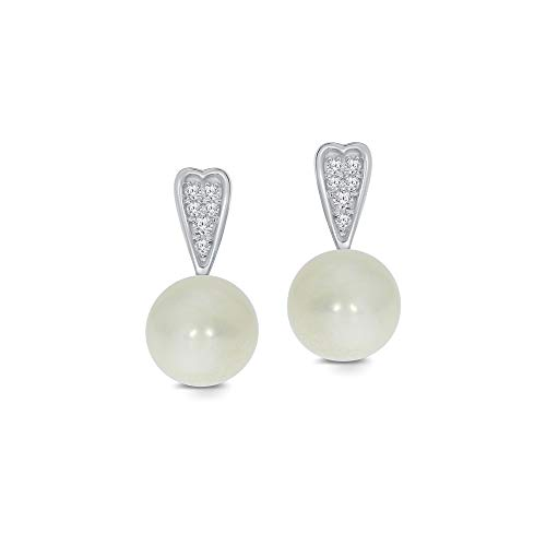 Akoya South Sea Earrings - 925 Sterling Silver 1/20ct Round White Diamond 6.00mm Freshwater Cultured Pearl Ball Fancy Earrings For Teens Womens
