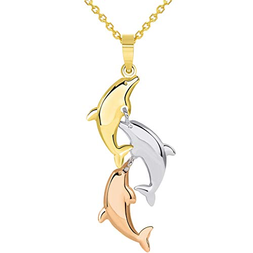 - 14k Tri Color Gold 3D Three Dangling Dolphins Jumping Vertical Pendant Necklace, 16