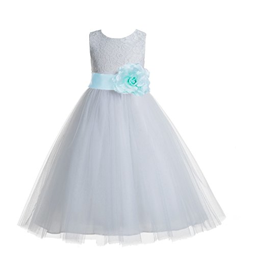 Mint Communion - ekidsbridal Floral Lace Heart Cutout White Flower Girl Dresses Mint First Communion Dress Baptism Dresses 172T 14
