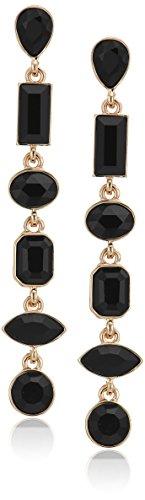 Linear Crystal Earrings Drop - Guess Mismatched Ears Women's Post Drop Jet Stone Earrings, Gold, One Size