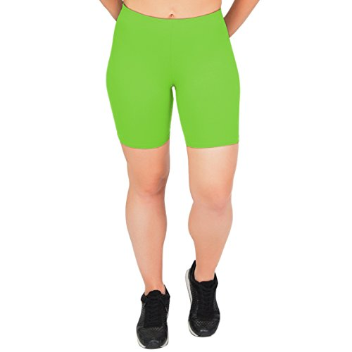 Stretch is Comfort Women's Cotton Stretch Workout Biker Shorts X Large Lime Green -