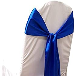 mds Pack of 75 Satin Chair Sashes Bow sash for Wedding and Events Supplies Party Decoration Chair Cover sash -Royal Blue