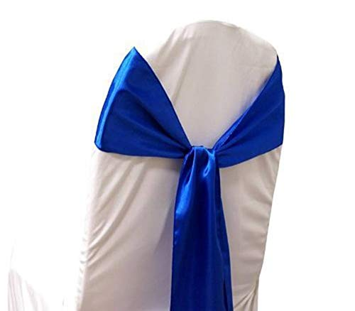 mds Pack of 50 Satin Chair Sashes Bow sash for Wedding and Events Supplies Party Decoration Chair Cover sash -Royal Blue