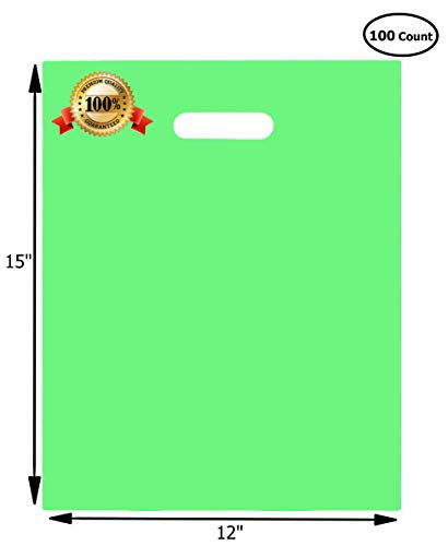 100 Merchandise Bags 12x15 Green, Die Cut Handles, No Gusset, Strong, Durable, and Tear Resistant Bags Perfect for Retail, Boutiques or Events by Ubags