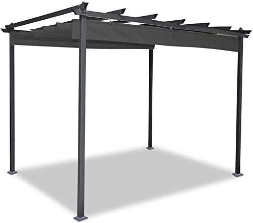IDMarket - Pérgola de techo retráctil, de 4 patas, 3 x 4 m, gris ...