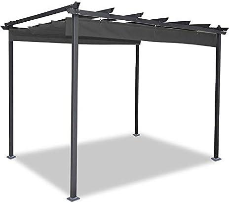 IDMarket - Pérgola de techo retráctil, de 4 patas, 3 x 4 m, gris