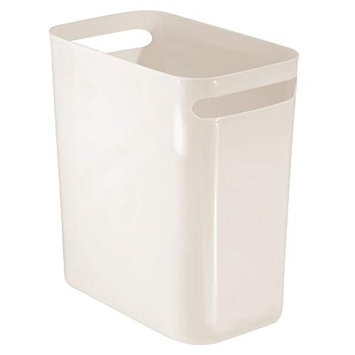 - mDesign Slim Plastic Rectangular Large Trash Can Wastebasket, Garbage Container Bin with Handles for Bathroom, Kitchen, Home Office, Dorm, Kids Room - 12