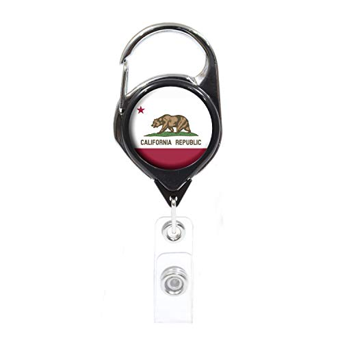 Officially Needed-California State ID Badge Holder Retractable, Black Carabiner Badge Clip | Great for Holding Name Tags, Light Tools Like Nail Clippers | Gifts for Teachers, Nurses, Professionals