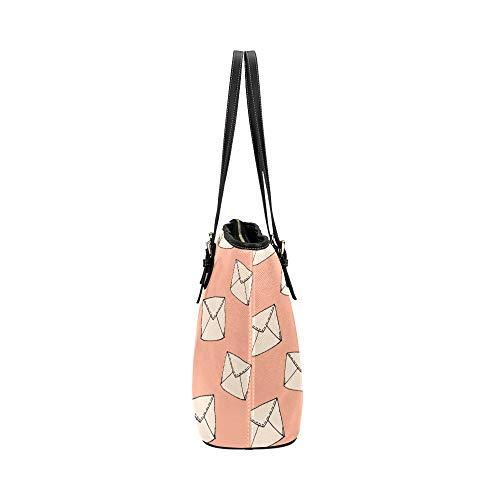 Flickor handväska vacker kreativ kärlek kuvert läder handväskor väska orsaksala handväskor dragkedja axel organiserare för damer flickor kvinnor kontor handväska